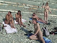 Fully naked girls at the beach drinking and having fun